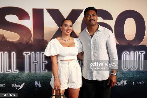 Julian Savea and his wife Fatima Savea attends the Auckland premiere of SIX60: Till The Lights Go Out at The Civic on November 23, 2020 in Auckland,...