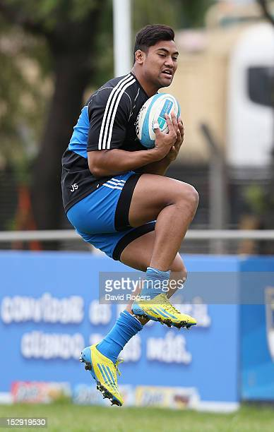 Julian Savea catches the ball during the New Zealand All Blacks captain's run at Centro Naval on September 28 2012 in Buenos Aires Argentina