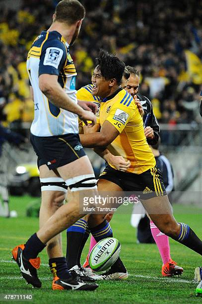 Julian Savea celebrates after scoring the first try during the Super Rugby Semi Final match between the Hurricanes and the Brumbies at Westpac...