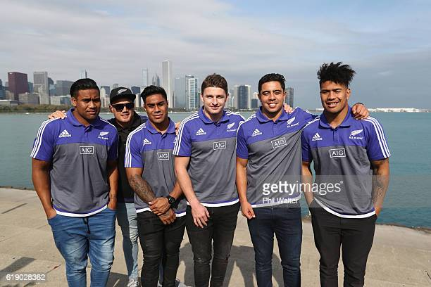 Julian Savea Israel Dagg Malakai Fekitoa Beauden Barrett Anton LienertBrown and Ardie Savea of the New Zealand All Blacks pose in front of the...