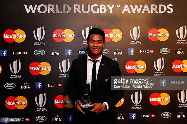 Julian Savea of New Zealand poses after receiving the Societe Generale RWC Dream Team award during the World Rugby via Getty Images Awards 2015 at...