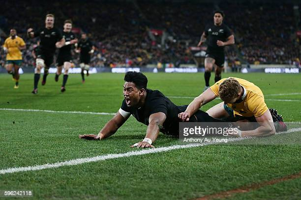 Julian Savea of New Zealand reacts as he scores a try during the Bledisloe Cup Rugby Championship match between the New Zealand All Blacks and the...