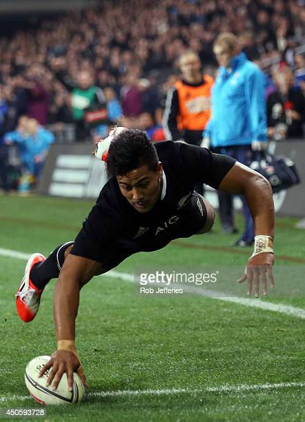 Julian Savea of New Zealand scores a try during the International Test Match between the New Zealand All Blacks and England at Forsyth Barr Stadium...