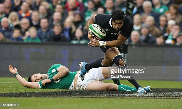 Julian Savea of the All Blacks breaks clear to score their first try during the International match between Ireland and New Zealand All Blacks at the...