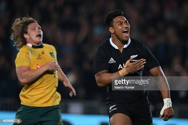 Julian Savea of the All Blacks celebrates scoring a try during The Rugby Championship match between the New Zealand All Blacks and the Australian...