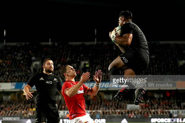 Julian Savea of the All Blacks collects the high ball to score a try during the International Test match between the New Zealand All Blacks and Wales...