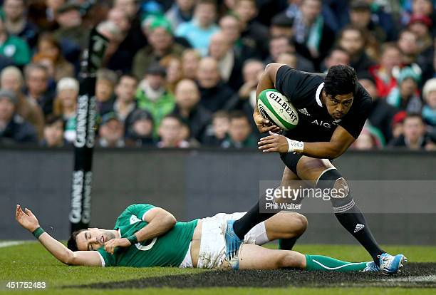 Julian Savea of the All Blacks crosses the line to score a try during the International match between Ireland and the New Zealand All Blacks at Aviva...