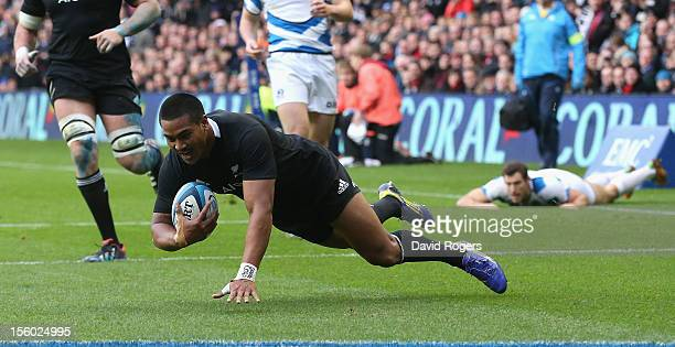 Julian Savea of the All Blacks dives over for a try during the international match between Scotland and New Zealand at Murrayfield Stadium on...