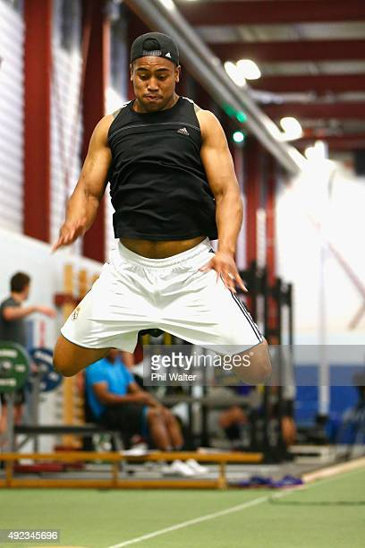 Julian Savea of the All Blacks during a New Zealand All Blacks gym session at Swansea University on October 12 2015 in Swansea United Kingdom