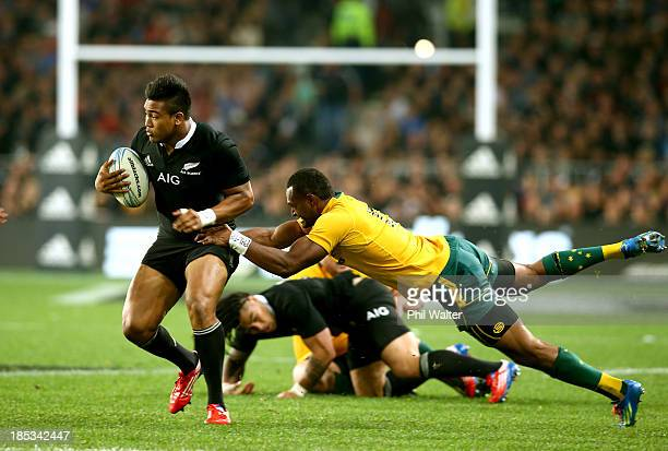Julian Savea of the All Blacks is tackled by Tevita Kuridrani of the Wallabies during The Rugby Championship match between the New Zealand All Blacks...
