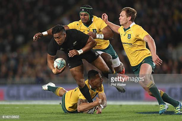 Julian Savea of the All Blacks is tackled during the Bledisloe Cup Rugby Championship match between the New Zealand All Blacks and the Australia...