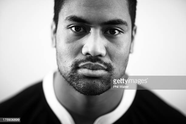 Julian Savea of the All Blacks poses during a New Zealand All Blacks portrait sessoin on August 10 2013 in Wellington New Zealand