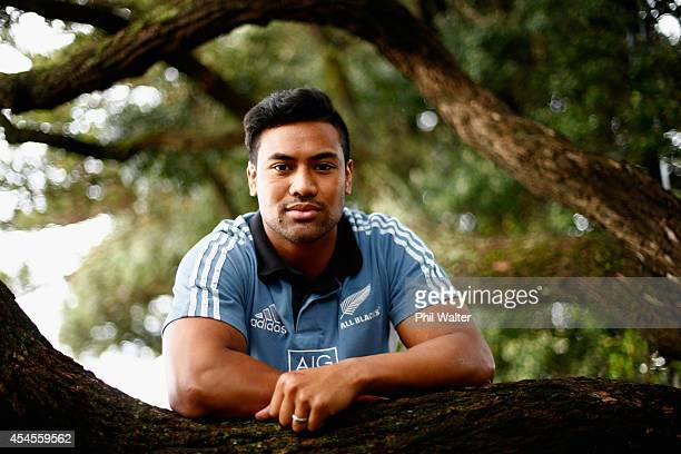 Julian Savea of the All Blacks poses for a portrait on the Napier beachfront during a New Zealand All Blacks media session on September 4 2014 in...