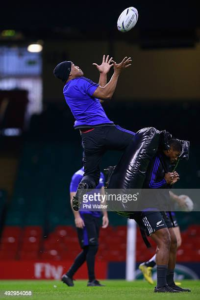 Julian Savea of the All Blacks takes a catch during a New Zealand All Blacks Captain's Run at Millenium Stadium on October 16 2015 in Cardiff United...