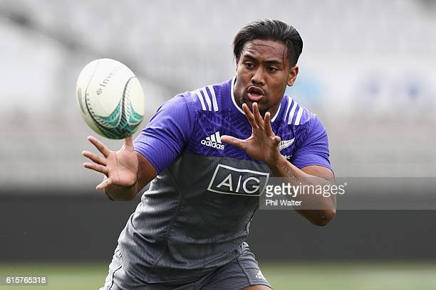 Julian Savea of the All Blacks takes a pass during a New Zealand All Blacks training session on October 20 2016 in Auckland New Zealand