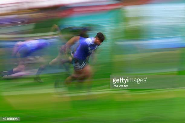 Julian Savea of the All Blacks warms up during a New Zealand All Blacks training session at Mowden Park on October 7 2015 in Darlington United Kingdom