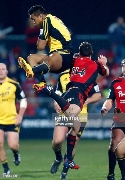 Julian Savea of The Highlanders goes high to take the ball during the round 20 Super Rugby match between the Crusaders and the Hurricanes at AMI...
