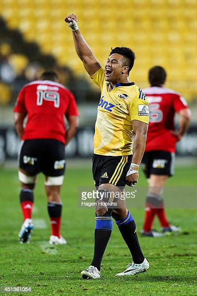 Julian Savea of the Hurricanes celebrates the win after the final whistle during the round 17 Super Rugby match between the Hurricanes and the...