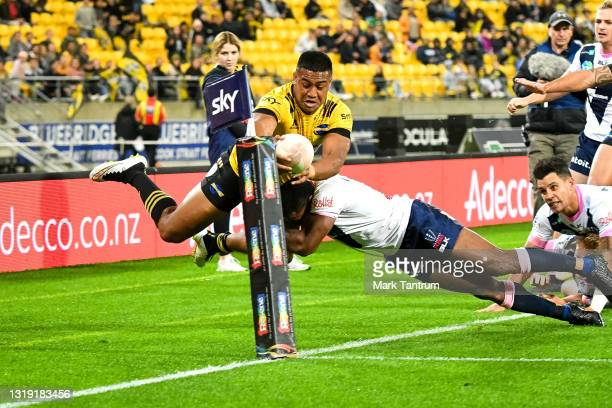 Julian Savea of the Hurricanes during the round two Super Rugby Trans-Tasman match between the Hurricanes and the Melbourne Rebels at Sky Stadium on...