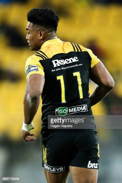 Julian Savea of the Hurricanes looks on during the round 13 Super Rugby match between the Hurricanes and the Cheetahs at Westpac Stadium on May 20...