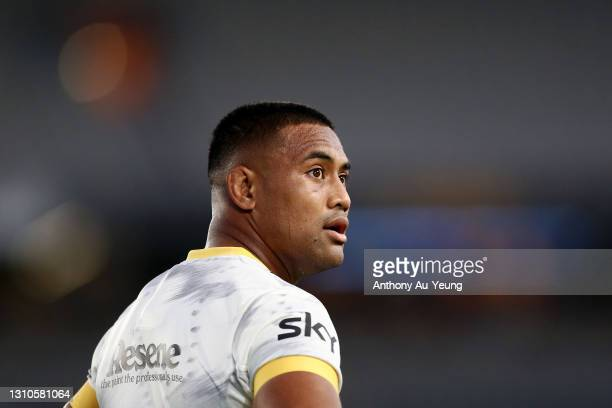 Julian Savea of the Hurricanes looks on during the round 6 Super Rugby Aotearoa match between the Blues and the Hurricanes at Eden Park, on April 03...