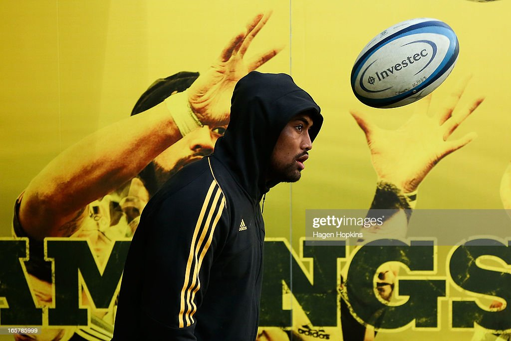 Julian Savea of the Hurricanes walks out of the players tunnel during the round eight Super Rugby match between the Hurricanes and the Waratahs at Westpac Stadium on April 6, 2013 in Wellington, New Zealand.