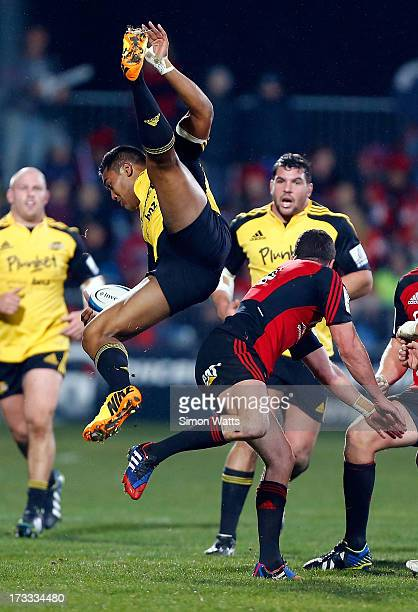 Julian Savea of The Hurricanes wins a highball during the round 20 Super Rugby match between the Crusaders and the Hurricanes at AMI Stadium on July...
