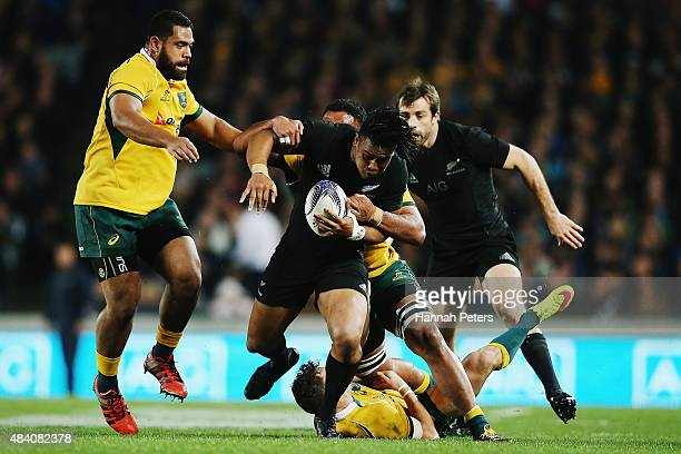Julian Savea of the New Zealand All Blacks is brought down during The Rugby Championship Bledisloe Cup match between the New Zealand All Blacks and...