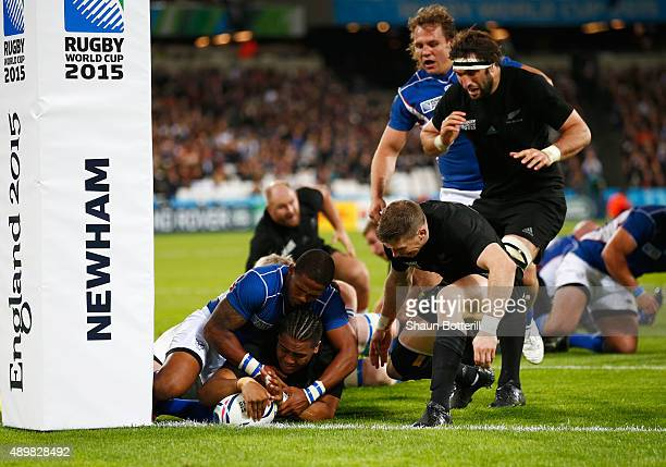 Julian Savea of the New Zealand All Blacks scores his teams sixth try during the 2015 Rugby World Cup Pool C match between New Zealand and Namibia at...