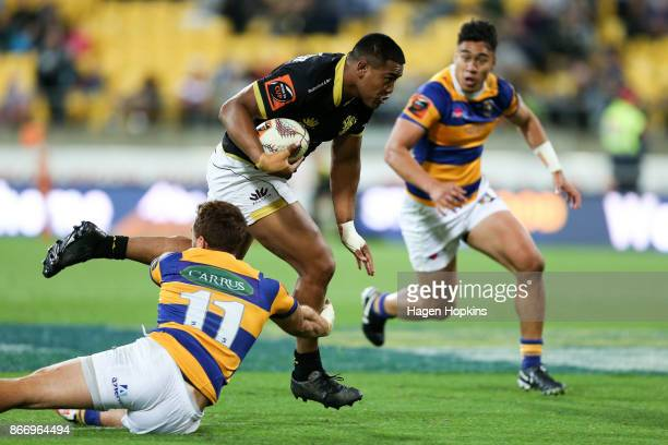 Julian Savea of Wellington breaks away for a try during the Mitre 10 Cup Championship Final match between Wellington and Bay of Plenty at Westpac...