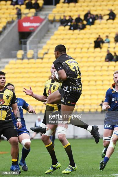 Julian Savea of Wellington claims the high ball during the round seven Mitre 10 Cup match between Wellington and Otago on October 1 2017 in...