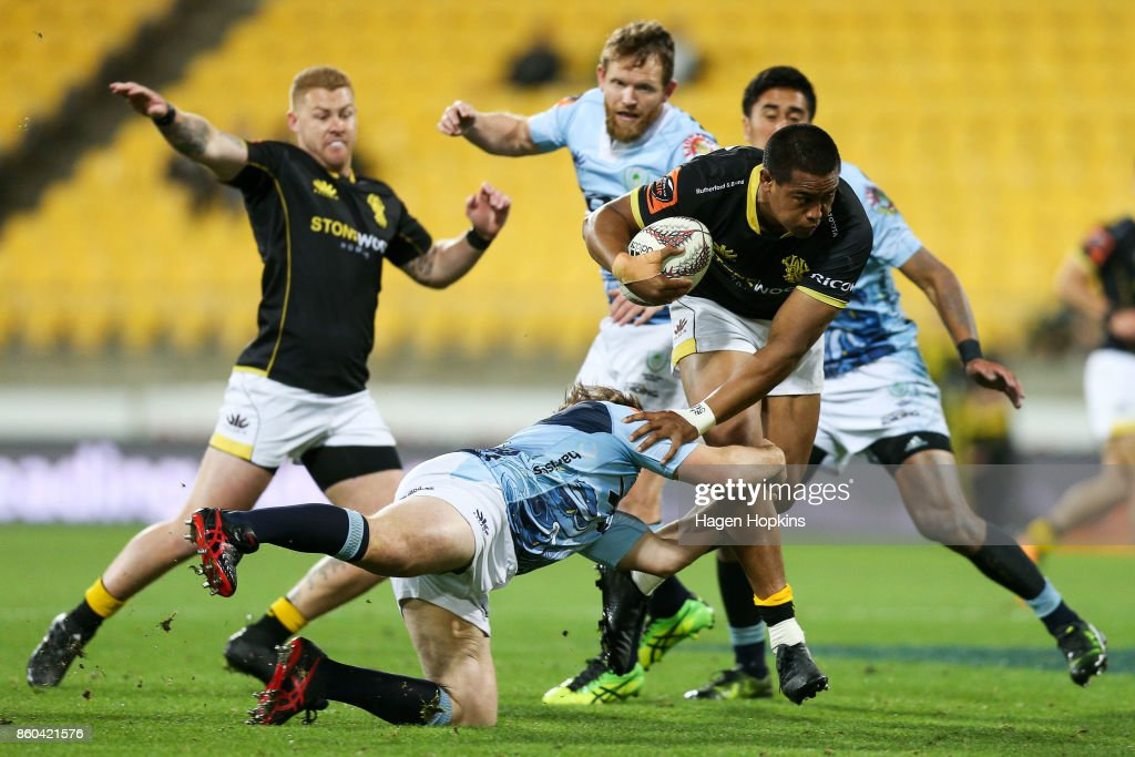 Julian Savea of Wellington is tackled during the round nine Mitre 10 Cup match between Wellington and Northland at Westpac Stadium on October 12, 2017 in Wellington, New Zealand.