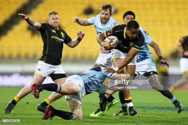 Julian Savea of Wellington is tackled during the round nine Mitre 10 Cup match between Wellington and Northland at Westpac Stadium on October 12 2017...