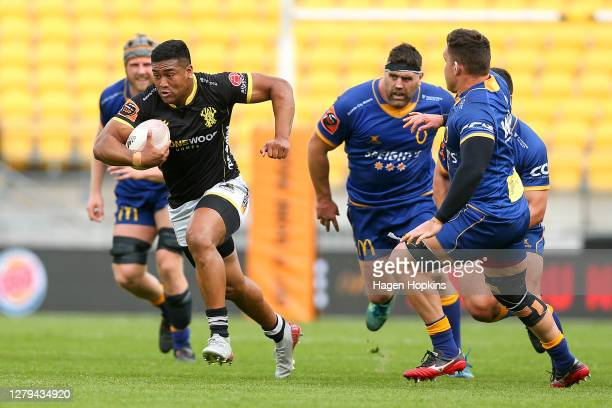 Julian Savea of Wellington makes a break during the round 5 Mitre 10 Cup match between Wellington and Otago at Sky Stadium on October 10, 2020 in...