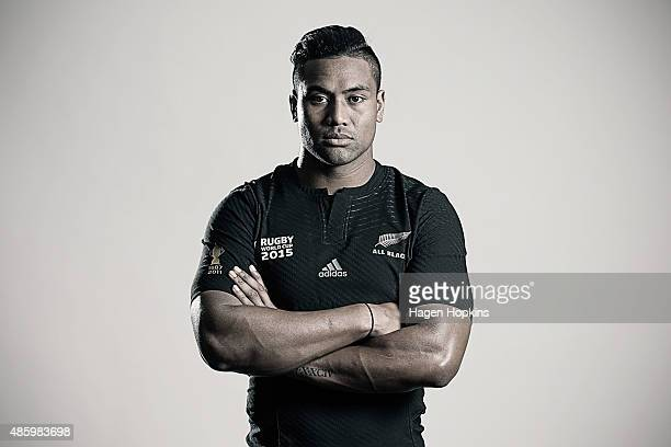 Julian Savea poses during a New Zealand All Blacks Rugby World Cup Squad Portrait Session on August 31 2015 in Wellington New Zealand