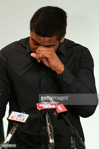 Julian Savea reads a statement to media about his assault charge during a press conference at Rugby League Park on April 21, 2013 in Wellington, New...