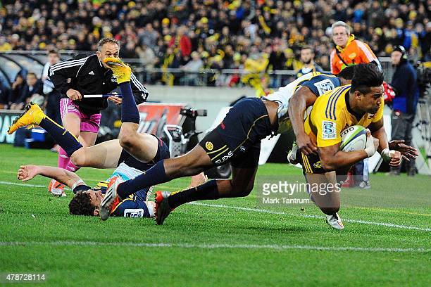 Julian Savea scores during the Super Rugby Semi Final match between the Hurricanes and the Brumbies at Westpac Stadium on June 27 2015 in Wellington...