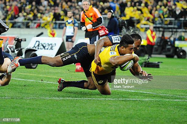 Julian Savea scores the first try during the Super Rugby Semi Final match between the Hurricanes and the Brumbies at Westpac Stadium on June 27 2015...