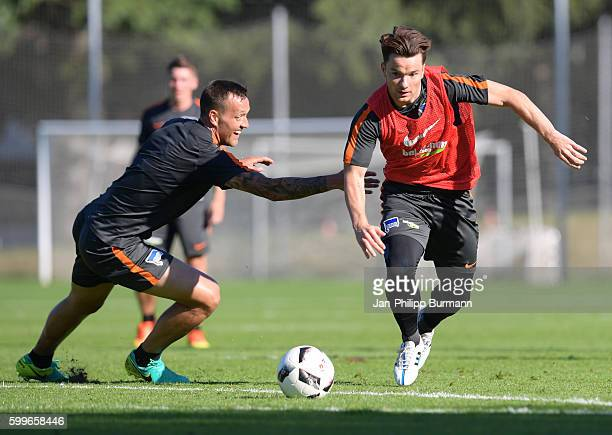Julian Schieber and Alexander Baumjohann of Hertha BSC during the training on september 6 2016 in Berlin Germany