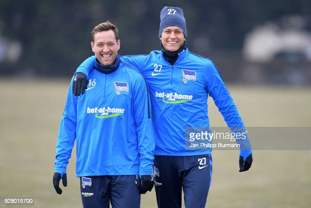 Julian Schieber and Davie Selke of Hertha BSC before the training session at the Schenkendorfplatz on march 6 2018 in Berlin Germany