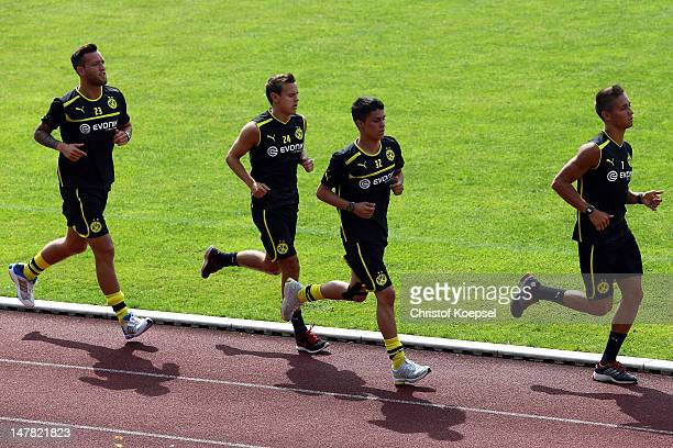 Julian Schieber Chris Loewe Leonardo Bittencourt and Moritz Leitner run during the lactate test of Borussia Dortmund at Hoesch Park on July 4 2012 in...
