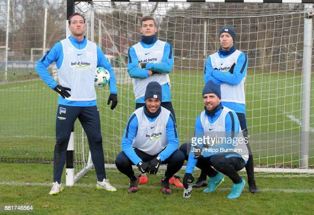 Julian Schieber Leon Schaffran Valentino Lazaro Vedad Ibisevic and Mitchell Weiser of Hertha BSC during the training on November 29 2017 in Berlin...