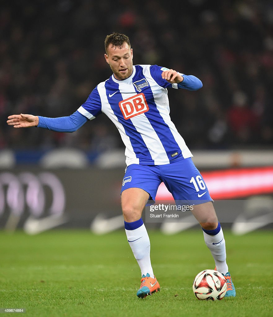 Julian Schieber of Berlin in action during the Bundesliga match between Hertha BSC and FC Bayern Muenchen at Olympiastadion on November 29, 2014 in Berlin, Germany.