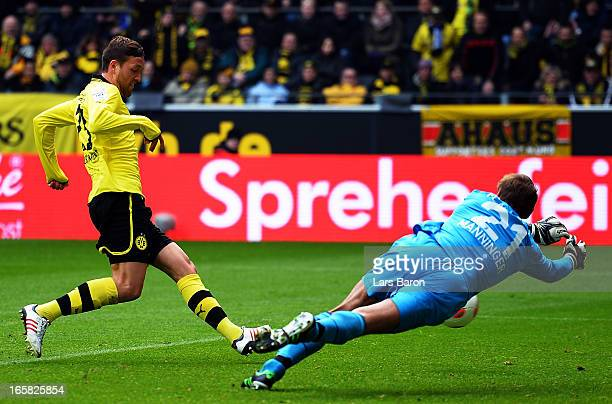 Julian Schieber of Dortmund scores his teams second goal during the Bundesliga match between Borussia Dortmund and FC Augsburg at Signal Iduna Park...