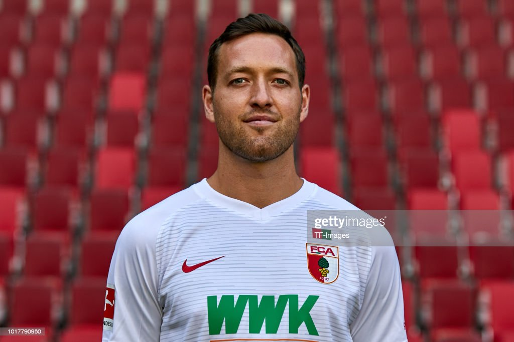 Julian Schieber of FC Augsburg poses during the team presentation at WWK Arena on August 9, 2018 in Augsburg, Germany.