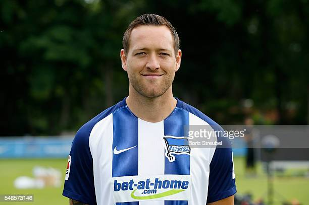 Julian Schieber of Hertha BSC poses during the Hertha BSC Team Presentation on July 12 2016 in Berlin Germany