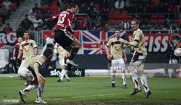 Julian Schieber of Nuernberg scores a goal during the Bundesliga match between 1. FC Nuernberg and Hannover 96 at Easy Credit Stadium on December 18,...
