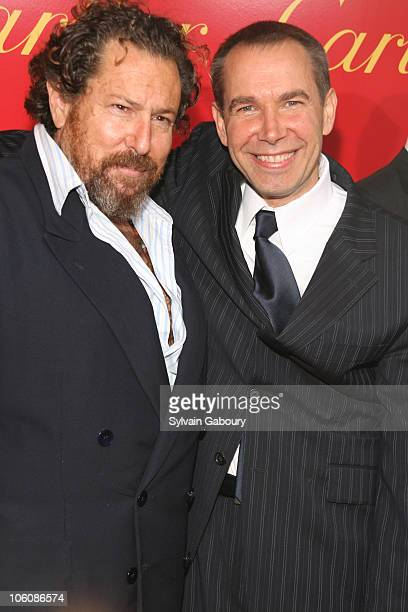 Julian Schnabel and Jeff Koons during Cocktail Party for The Cartier Charity Love Bracelet at Cartier Mansion in New York NY United States