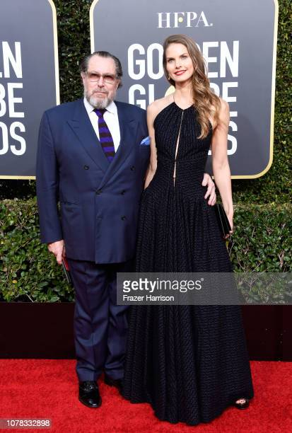 Julian Schnabel and Louise Kugelberg attend the 76th Annual Golden Globe Awards at The Beverly Hilton Hotel on January 6 2019 in Beverly Hills...