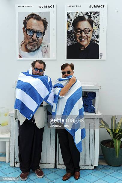 Julian Schnabel and Michael Chow attend Design Dialogue hosted by SURFACE magazine at OCHO at Soho Beach House on December 4 2014 in Miami Florida